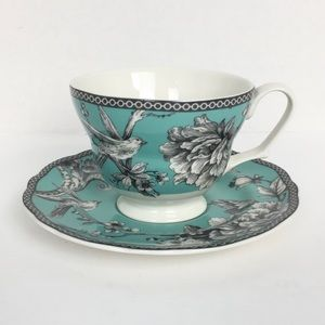 222 Fifth Adelaide Turquoise Tea Cup and Saucer